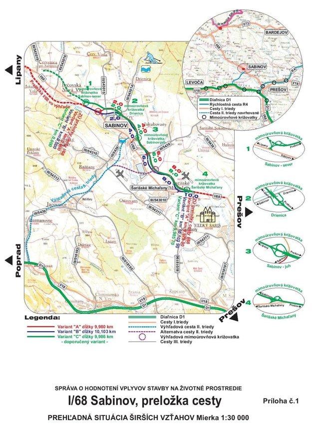 Plánovaná trasa obchvatu Sabinova.