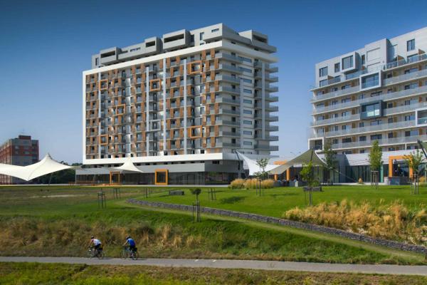 Vizualizácia administratívno-bytového komplexu Petržalka City v bratislavskej Petržalke. Hotel s kongresovými sálami po novom nebude jeho súčasťou.