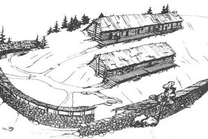 Rekonštrukcia hradiska púchovskej kultúry v staršej a mladšej dobe rímskej (podľa P. Čaploviča).