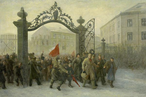František Kudláč: Revolucionári (pôvodne Demonštrácia pred palácom SNR). 1952. SNG, Bratislava