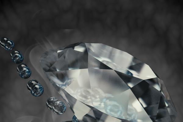 Umelecké zobrazenie molekuly vodíka pod tlakom za použitia dvoch diamantových nákov.