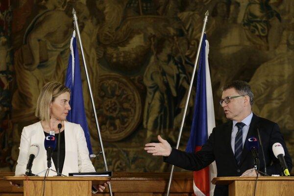 Vysoká predstaviteľka EÚ pre zahraničné veci a bezpečnostnú politiku Federica Mogheriniová s českým ministrom zahraničných vecí Lubomírom Zaorálkom.