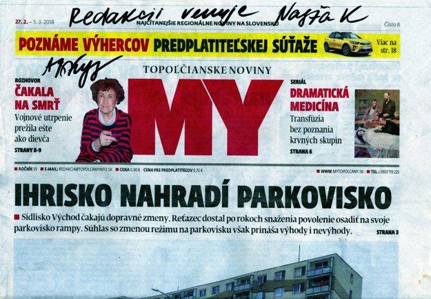 Autogram od Nasti Kuzminovej aj na MY Topoľčianskych novinách.