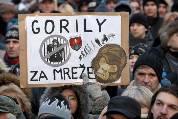 Protest Gorila na Námestí SNP.