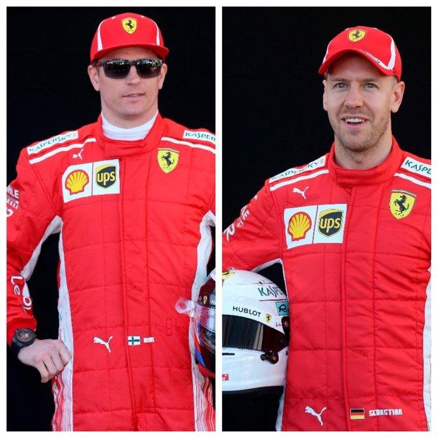 Fín Kimi Räikkönen (vľavo) a Nemec Sebastian Vettel.