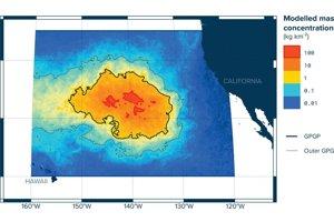 Model koncentrácie plastov vo Veľkej pacifickej odpadkovej škvrne. Nachádza sa medzi Havajom a Kaliforniou.