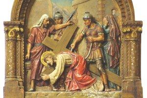 Vyobrazenie krížovej cesty v Rímskokatolíckom kostole v Habovke.