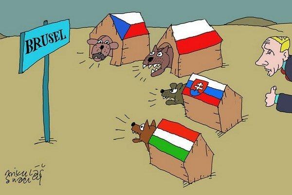 Brusel, Putin, V4, Česko, Poľsko, Slovensko, Maďarsko, pes