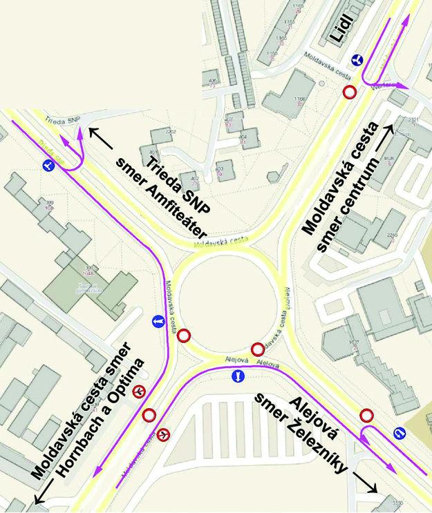 Takto bude vyzerať od soboty dopravná situácia okolo uzavretej kruhovej križovatky Moldavská.