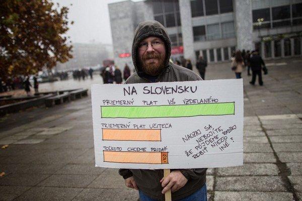 Protestujúci učiteľ.  Ako sme na nich zabudli?