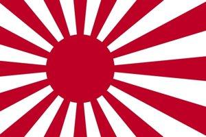 Japonská vojnová vlajka. Južná Kórea a Čína si ju spájajú s imperializmom.