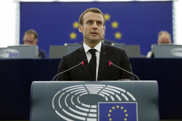 Emmanuel Macron v Štrasburgu.