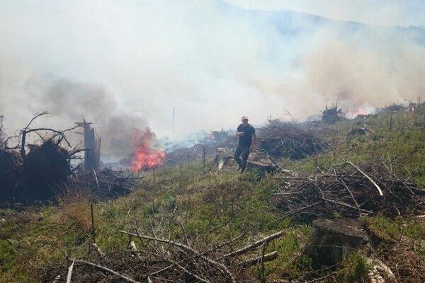 Požiar lesa sa hasičom dlho nedarilo lokalizovať.