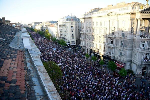 Protesty v Budapešti.
