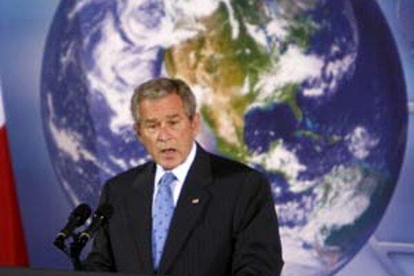 George Bush počas prejavu o energetickej bezpečnosti a klimatickej zmene.