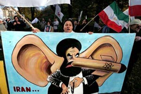 Karikatúra iránskeho prezidenta. Namiesto nosa má atómovú bombu.