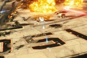 Vesmírna loď USS Kelvin z filmu Star Trek počas bitky.