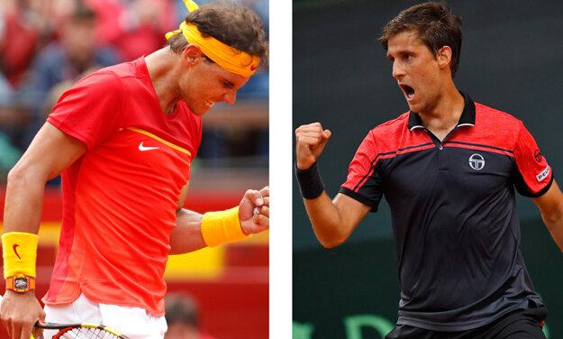 Martin Kližan (vpravo) a Rafael Nadal.