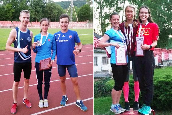 Vľavo trojica z ŠK ŠOG Nitra - Matúš Kompas, Veronika Zrastáková,Roman Šajter. Na druhej snímke (vľavo) strieborná Dominika Kuchtová z AC Stavbár.