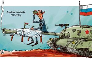 Asadove �enevsk� rozhovory (karikat�ry t�d�a)