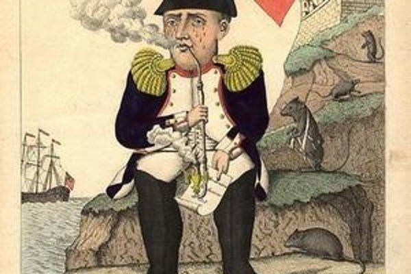 Dobová karikatúra Napoleona.