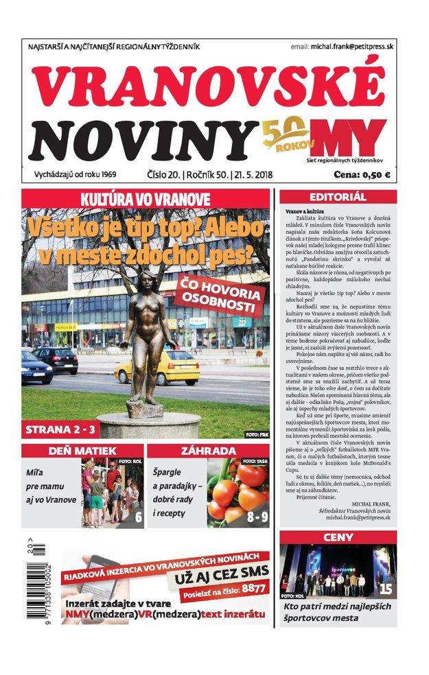 Titulná strana týždenníka Vranovské noviny č. 20/2018.