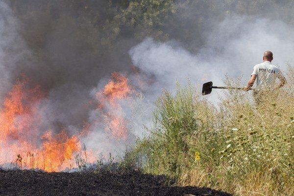 Blesk spôsobil požiar v lese.