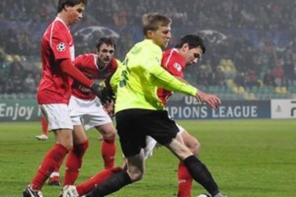 Mário Pečalka v zápase so Spartakom Moskva.