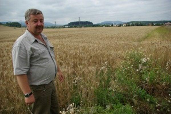 Miroslav Hreus pri svojej úrode. Pre burinu zo susedného poľa pestuje drahšie.