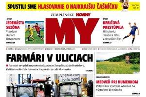 Titulná strana týždenníka MY Zemplínske noviny č. 25/2018.