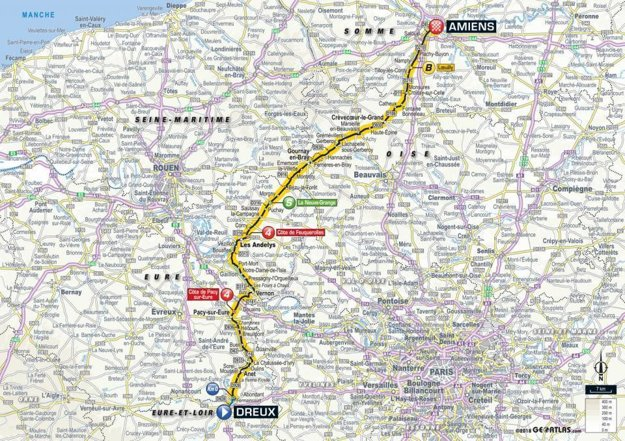 Mapa 8. etapy Tour de France 2018