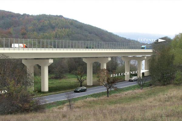 Vizualizácia mostnej estakády v údolí Krivánskeho potoka.