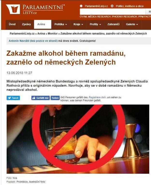 Takto hoax prevzali české Parlamentní listy.