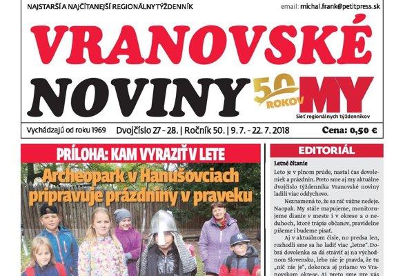 Titulná strana Vranovských novín č. 27-28/2018.