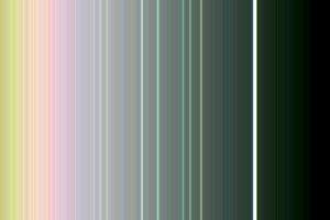 Prstence Uránu vo falošných farbách, ktoré zachytila sonda Voyager 2. Na fotografii je vidno všetkých deväť známych prstencov. Bledšie pastelové šmuhy medzi prstencami vznikli pri zvýraznení v počítači.