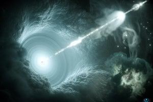 Vizualizácia akticneho galaktického jadra. Supermasívna čierna diera v strede akrečného disku vysiela rovný vysoko energetický prúd hmoty do vesmíru. V podobnom prúde sa mohli na Zem dostať neutrína.