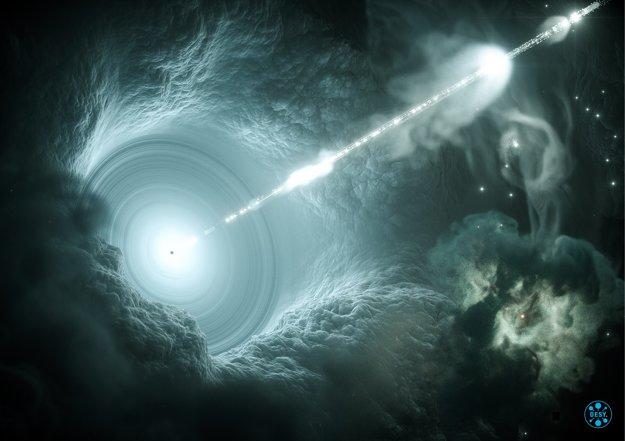 Vizualizácia aktívneho galaktického jadra. Supermasívna čierna diera vysiela vysoko energetický prúd hmoty. V podobnom prúde sa mohli na Zem dostať neutrína.