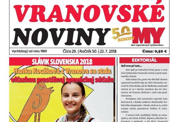 Titulná strana týždenníka Vranovské noviny č. 29/2018.