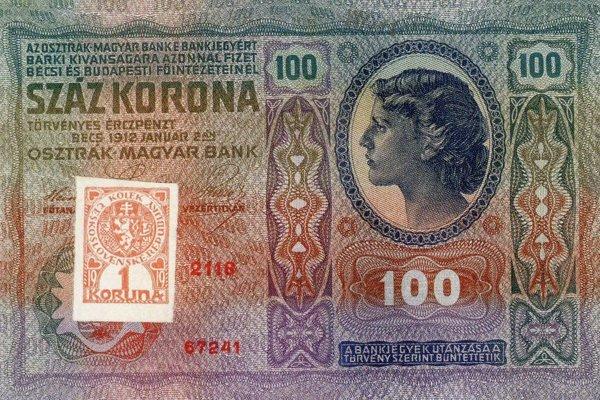 Okolkovaná stokorunáčka rakúsko-uhorskej meny čs. kolkom.