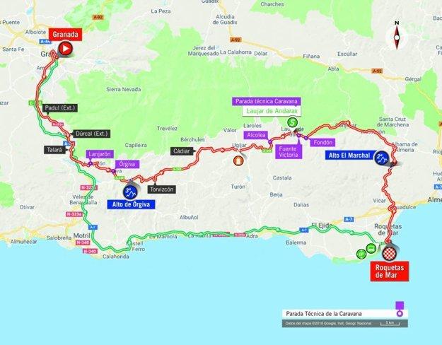 Mapa 5. etapy pretekov Vuelta 2018.