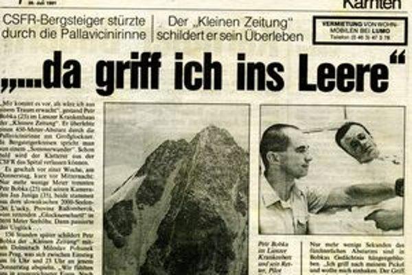Dobová tlač z júla 1991. Peter Bobka s jedným zo záchrancov v rakúskej nemocnici.