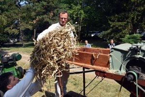 Na snímke ukážka tradičného mlátenia obilia.