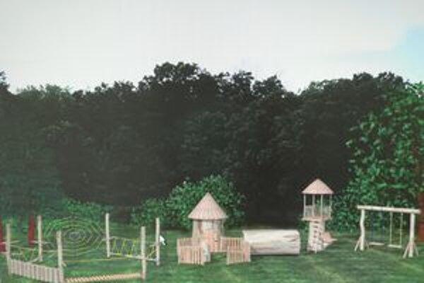 Budúce ihrisko vo Veličnej. Do jeho výroby sa pustili otcovia z dediny.