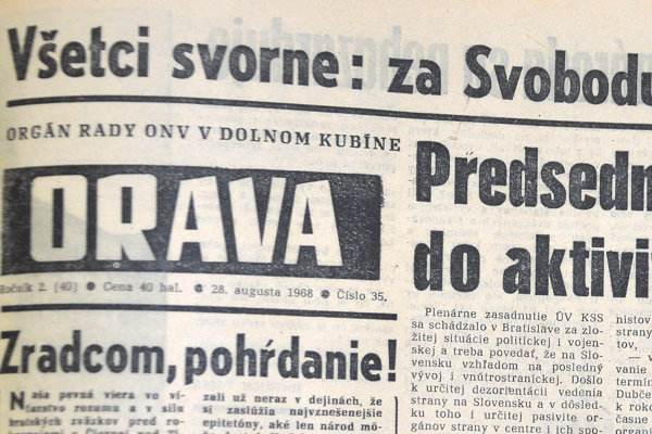 Titulná strana novín Orava z 28. augusta 1968.