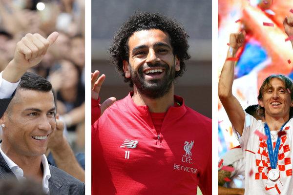 Cristiano Ronaldo (vľavo), Mohamed Salah (uprostred) a Luka Modrič sú finalistami v ankete o najlepšieho futbalistu v Európe podľa UEFA.