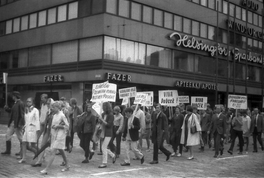 Demonštrácia v Helsinkách.