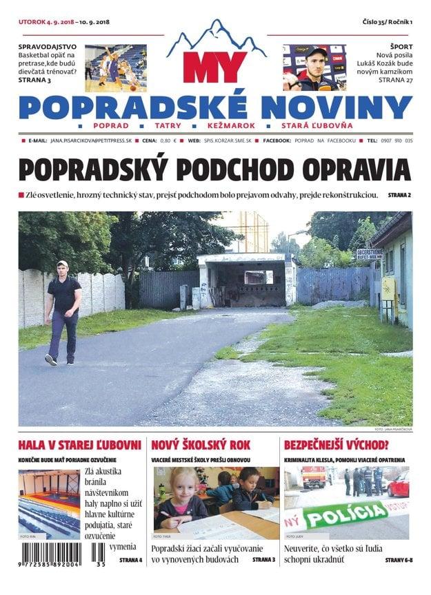 Titulná strana týždenníka MY Popradské noviny č. 35/2018.