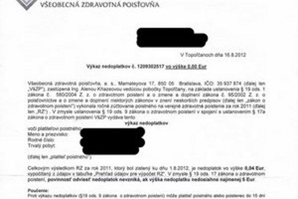 Výkaz nedoplatkov. Takéto listy si našli tisícky klientov poisťovní. Pokiaľ nie jenedoplatok vyšší ako 5 eur, poistenci ho nemusia platiť.