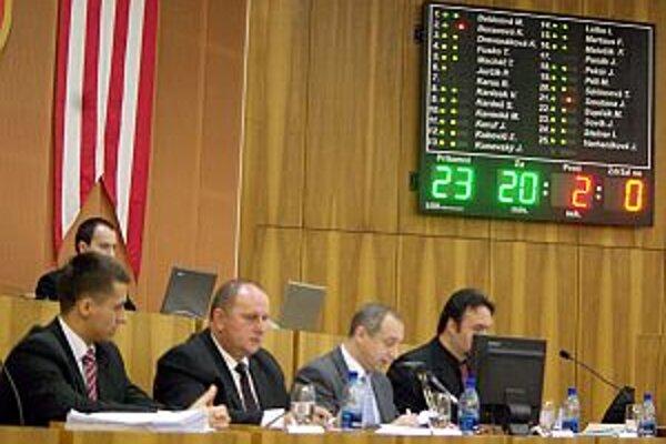 Hlasovanie poslancov o plate primátora.