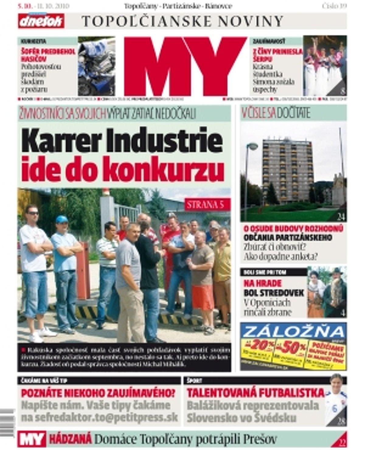 ec3eb6224 MY Topoľčianske noviny Dnešok kúpite aj u nás v redakcii za zvýhodnenú sumu  iba 40 centov